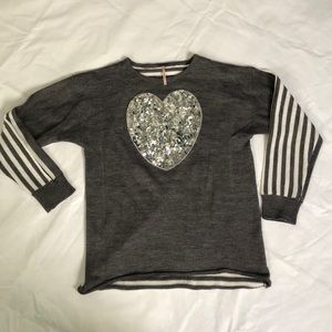 Poof Girl Sequin Heart Striped Sweater Grey Silver